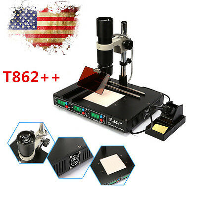 T862++ Infrared BGA SMD Rework Station IRDA Soldering Welder Heat Machine 110V