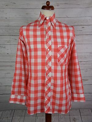 Mens Vtg Red Gingham Checked Polycotton Shirt Mod Indie Weller -S- DP73