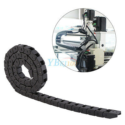 "1M 1000mm 40"" Black Long Nylon Cable Drag Chain Wire Carrier 10x10mm High Q GF"