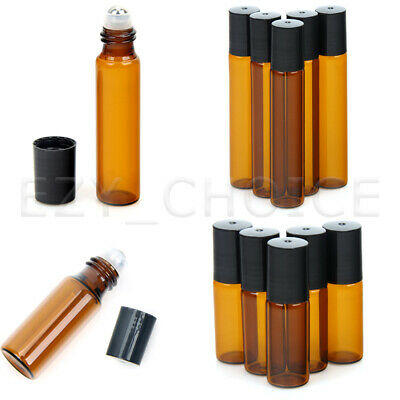 10Pcs Amber Roll On Glass Bottles Roller Ball For Perfume Essential Oil 5ml 10ml