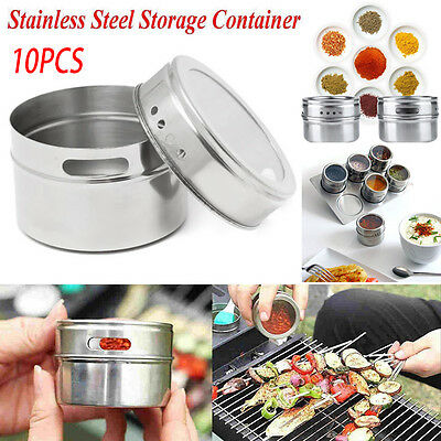 10pcs Stainless Steel Magnetic Spice Storage Container Jar Tins With Rack Holder