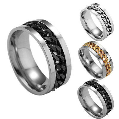 8mm Stainless Steel Ring Chain Spinner Punk Band Fashion Jewelry for Men Women