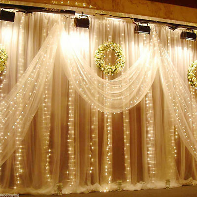 10FT/20FT LED Curtain Fairy String Lights Wedding Party Decor 300/600 Lights New