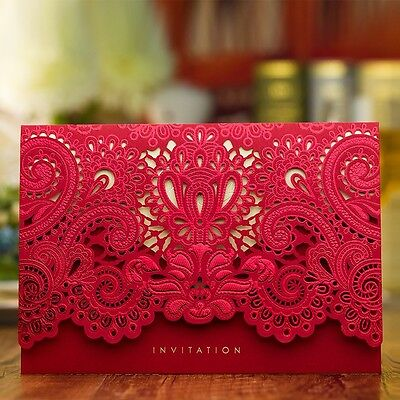 50 X Rose Hollow Wedding Invitation Cards Laser Cut Floral with Envelopes, Seals
