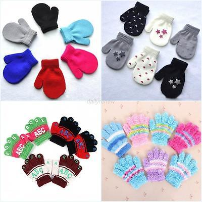 AU 6 Styles Winter Warm Infant Baby Gloves Toddler Kids Stretchy Knitted Mittens