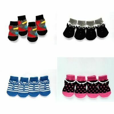 AU 4Pcs Indoor Socks Anti-slip Soft Warm Knit Weave Socks For Pet Dog Puppy Cat
