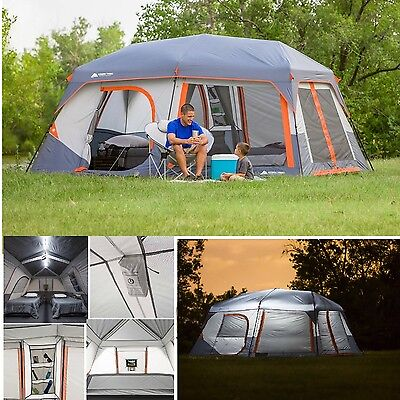 Ozark Trail 10 Person 2 Room Instant Cabin Family Camping Tent w/ Led Light Pole