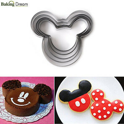 5Pcs/Set Mickey Mouse Fondant Baking Pastry Cookie Cutter Stainless Steel Mold