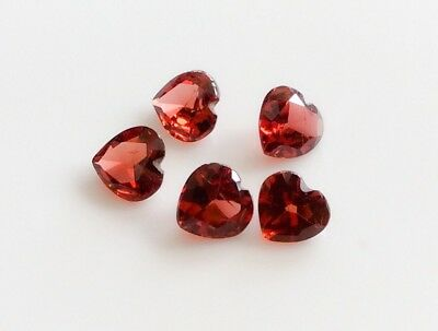 5 PC HEART CUT SHAPE NATURAL GARNET 5MM x 5MM LOOSE GEMSTONE