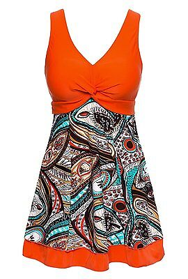 Women's Plus Size Floral Printing Swimsuit Padded High Waist Tankini Swimdress