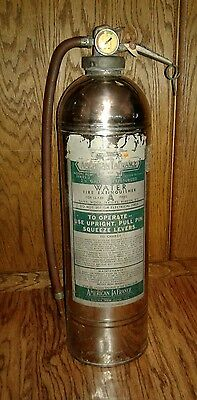 Empty American Lafrance Chrome Water Fire Extinguisher; Vintage Industrial