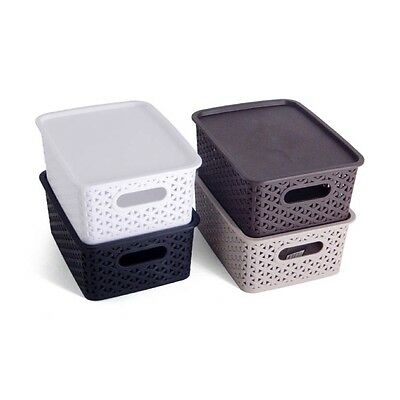 Set of 2 Storage Box Organizer Container Basket Stackable with a Lid, 4 litres