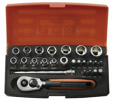 """Bahco Sl25 Socket Set 1/4"""" Inch Drive & Carry Case Tool Kit - 25 Piece"""