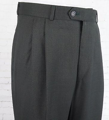 Vtg Pleated Puppytooth Poly / Wool Trousers Turn Ups 80s does 40s / 50s W31 EB43