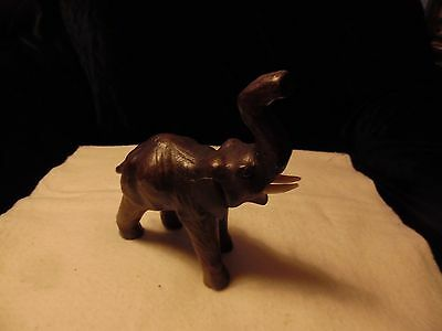 Vintage Compressed Wood Look Lacquered Paper Mache Elephant Statue