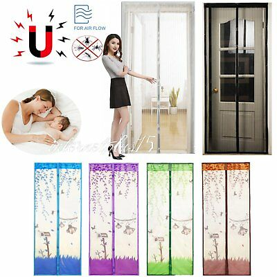 Mesh Magnetic Fly Bug Snap Screen Mosquito Door Curtain Hands Free Black/White S