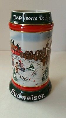 Budweiser Holiday Beer Stein Mug Clydesdale Horses Ceramic Made in Brazil 1991