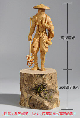 JD004 - 18 CM High Detailed Carved Boxwood Carving - Kung Fu Monk
