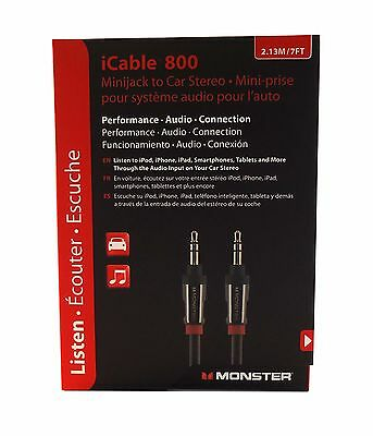 """Monster iCable 7ft. 1/8"""" (3.5mm) Auxiliary Aux Cable for Car Stereo iPod iPhone"""