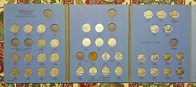 Canada Nickel Set 1922 - 1960 40 Different in Old Whitman Folder Most F to UNC