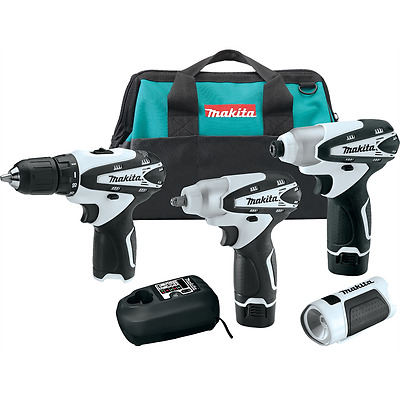 Makita 4 Pc 12V Max Li-Ion Drill Driver Wrench Flashlight & Bag Kit LCT401W