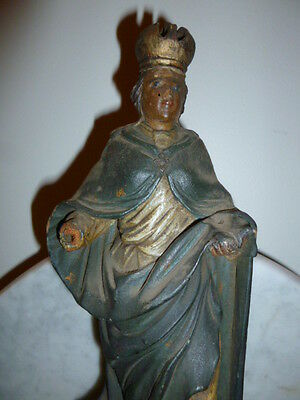 Religious art French wood carved statue Saint crown polychrome 1840