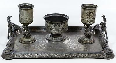 Victorian 4 pieces Silver-plate Wine Service Middletown Plate Mermaid Ship 1880