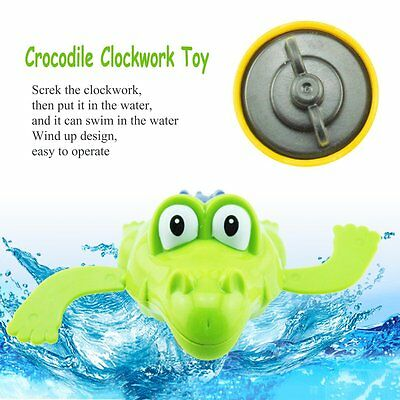 Swimming Crocodile Clockwork Toy Plastic For Baby Kid Children Bath time Play SW