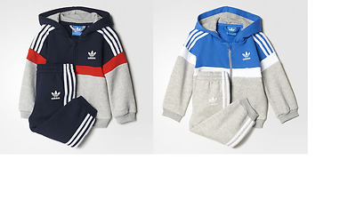 Adidas Baby Kids Boys Toddler Tracksuit Set Play Gym Cotton Hooded New Trefoil