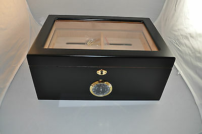 Stylish Black 125 Count Cigar Humidor , Limited Quantites Available, Great Deal