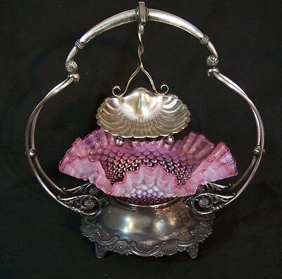 Antique Silverplate Brides Basket Hobnail Cranberry Opalescent Art Glass Bowl