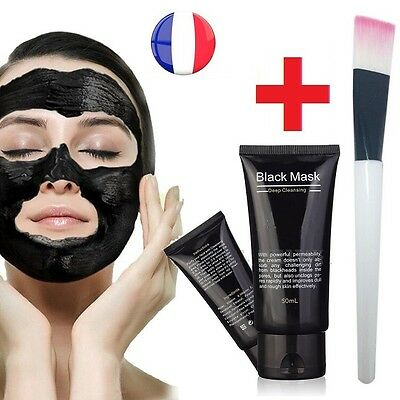 Masque Anti Acné points noirs Black Mask Charbon Soin Peau Visage acne + Pinceau