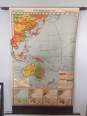 VINTAGE Pull Down School Map 1948 Australia And The Far East Atwood Regional