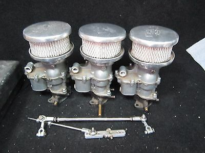 3x2 Tri Power Carbs with Linkage and EDMUNDS Air Cleaner Assemblies - Ford 94
