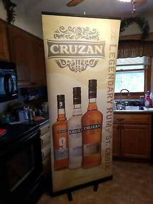 Cruzan Legendary Rum/St. Croix Retractable Roll Up Banner Stand 33 X 79