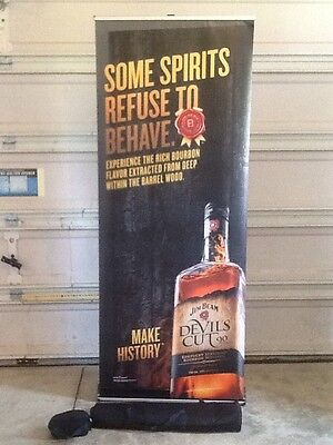 Jim Beam Devil's Cut 90 Proof Retractable Roll Up Banner Stand 33 X 79