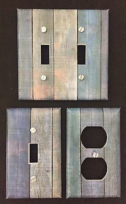 Aged Wood Plank Light Switch Cover Plates Blue Wood Looking Country Decor Rustic