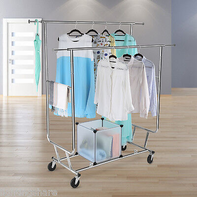 Commercial Grade Collapsible Clothing Rolling Double Chrome Garment Rack Hanger