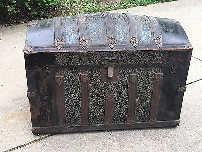 Antique Camelback Victorian Embossed Tin Steamer Trunk