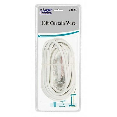 10ft WHITE WINDOW NET CURTAIN WIRE CORD CABLE WITH FREE HOOKS & EYES FITTINGS