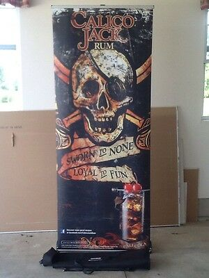 Calico Jack Rum Retractable Roll Up Banner Stand 33 X 79
