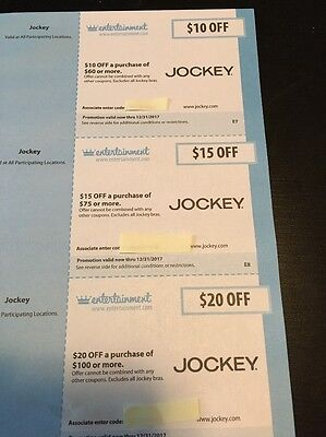 JOCKEY Gift card discount coupon save $10-20 off purchase Expires Dec 2017