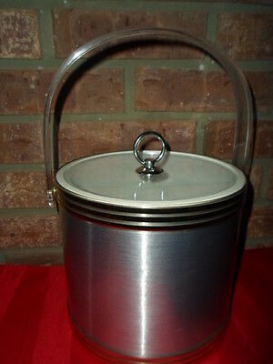 Retro Mid Century Ice Bucket Shelton Ware Silver/Gold Color Acrylic Lid & Handle