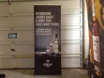 Jim Beam Jacob's Ghost White Whiskey Retractable Roll Up Banner Stand No Pole