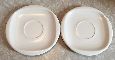 Vintage Melamine Melmac Boontonware Set of 2 Saucer Plates White 12026 Approx 6""