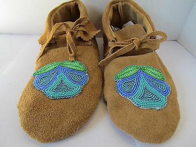 Beautiful Native American Moccasins, Hand Made, Leather, 9 Inches, Blue Beading