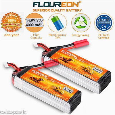 2X 4S 14.8V 4000mAh 25C LiPo Battery Pack for RC Car Airplane Drone helicopter