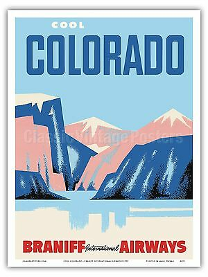 Colorado Rocky Mountains Vintage Airline Travel Art Poster Print