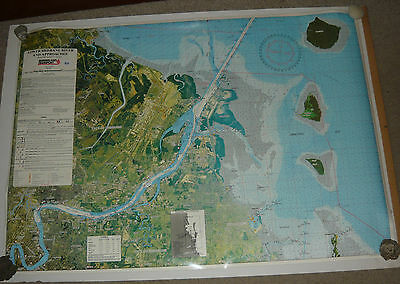 Large Moreton Bay Navigation Chart Brisbane River Mouth Approaches Boating Map
