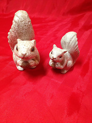 VINTAGE JAPAN SQUIRREL WITH NUT FIGURINE Lot of 2